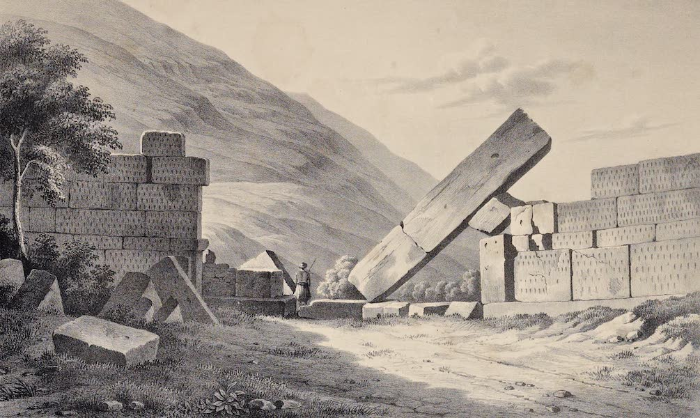 Views and descriptions of Cyclopian, or, Pelasgic remains - Exterior View of the Great Gate of Messene (1834)