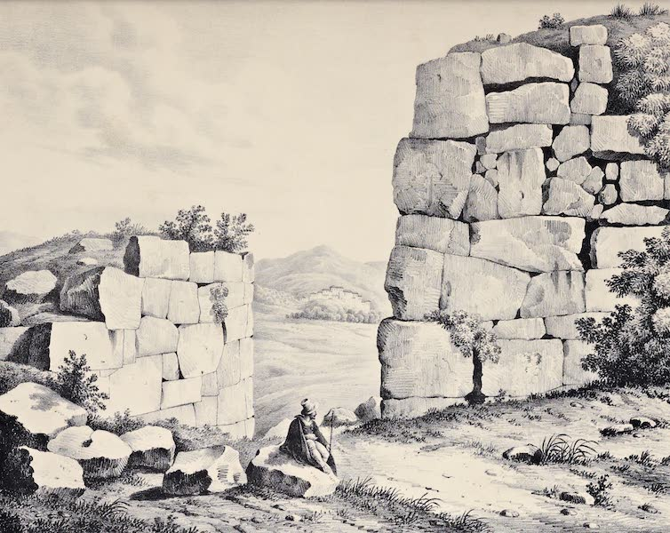 Views and descriptions of Cyclopian, or, Pelasgic remains - Interior of the Great Gate at Norba (1834)
