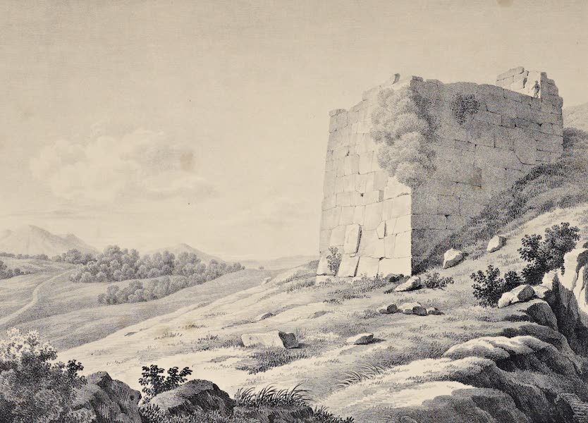 Views and descriptions of Cyclopian, or, Pelasgic remains - Another View of the Bastion at Norba (1834)