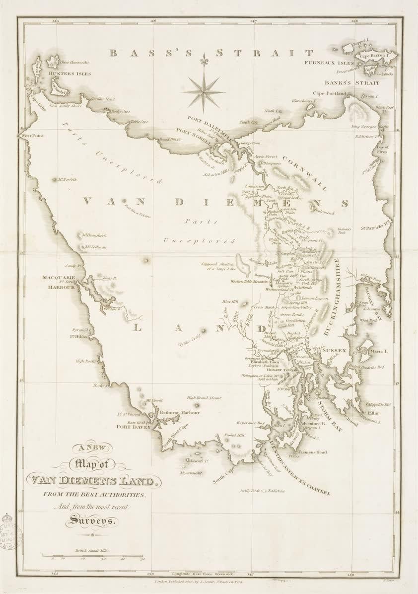 Views in Australia or New South Wales - A New Map of Van Diemens Land  (1825)