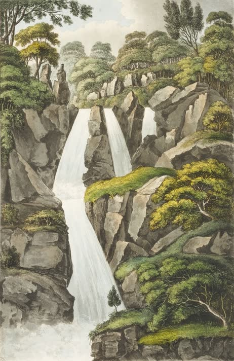 Views in Australia or New South Wales - Beckett's Fall on the river Apsley (1825)