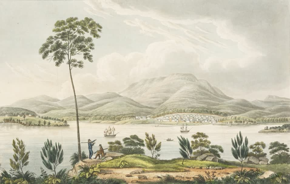 Views in Australia or New South Wales - Distant View of Hobart Town (1825)