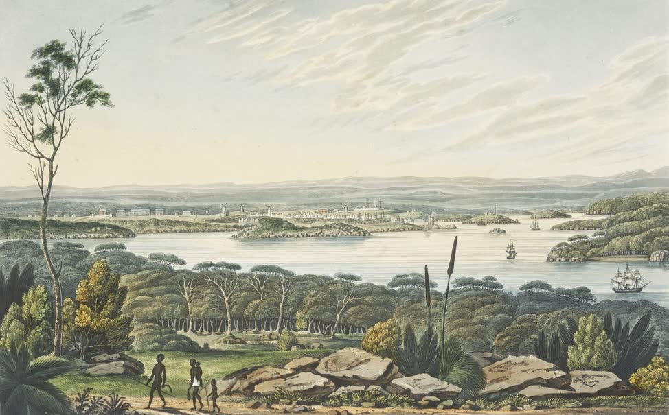 Views in Australia or New South Wales - Distant View of Sidney (1825)