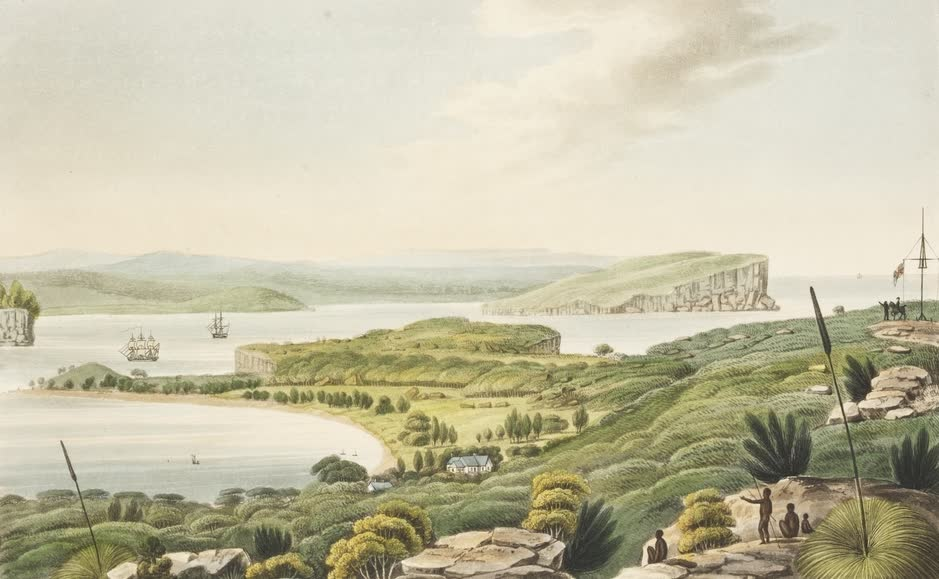 Views in Australia or New South Wales - View of the Head's at the Entrance to Port Jackson (1825)