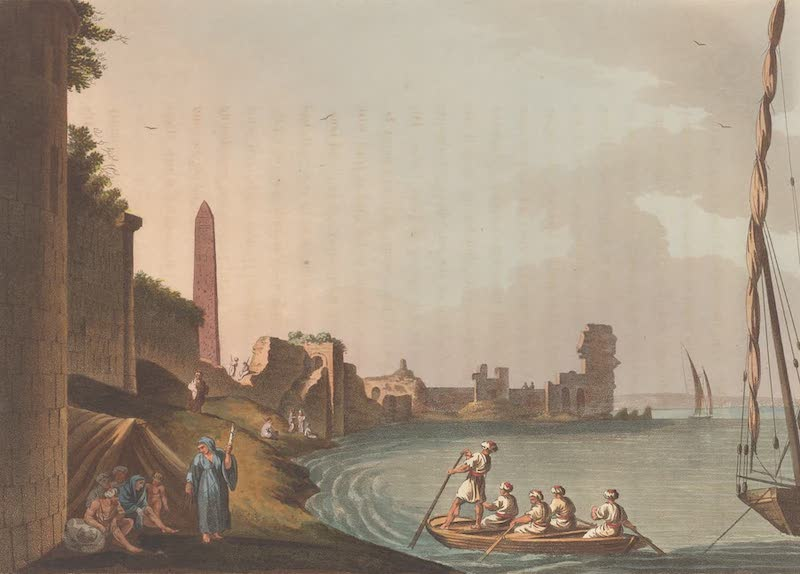 Exterior view of the Ancient Wall of Alexandria, with Cleopatra's Needle