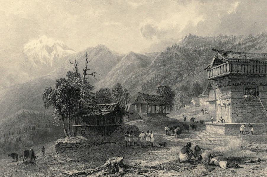 Views in India, chiefly among the Himalaya Mountains - Village of Khandoo, on the Ascent of the Choor (1836)
