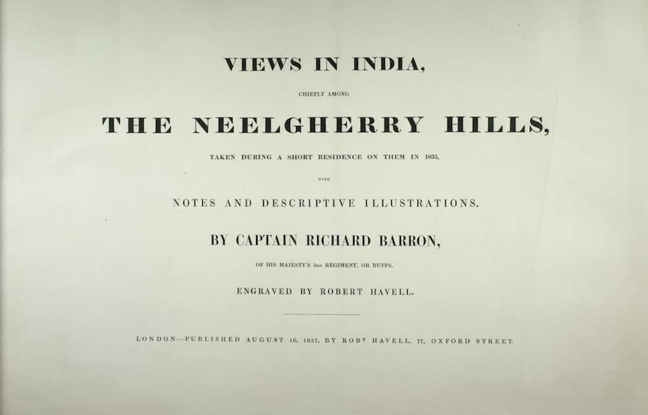 Views in India, Chiefly Among the Neelgherry Hills - Title Page (1837)