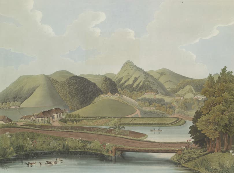 Views in India, Chiefly Among the Neelgherry Hills - A View taken in the Commandant's Garden, looking North East, including C. M. Lushington's House and Kelsoe Land (1837)