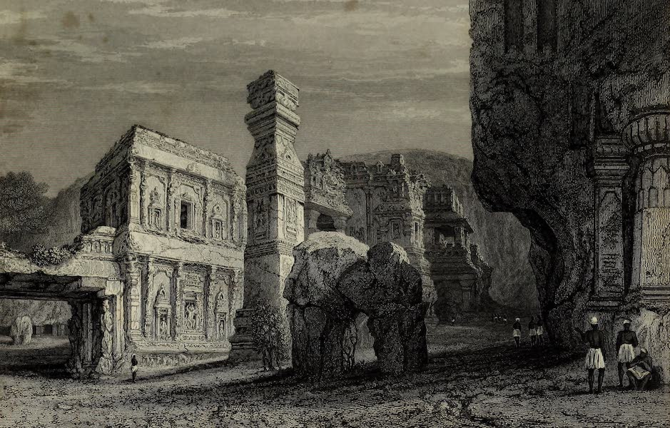Views in India, China, and on the Shores of the Red Sea - Excavated Temple of Kylas Caves of Ellora (1835)