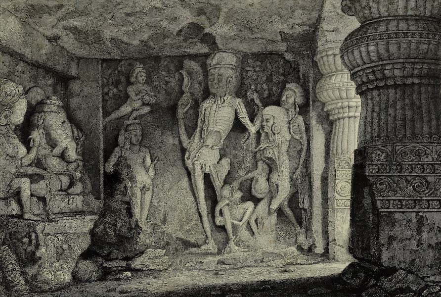 Views in India, China, and on the Shores of the Red Sea - Skeleton Group in the Rameswur Caves of Ellora (1835)