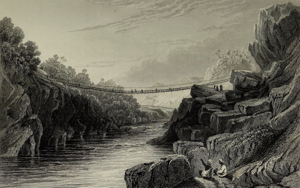 Views in India, China, and on the Shores of the Red Sea - Grass Rope Bridge at Teree Gurwall (1835)