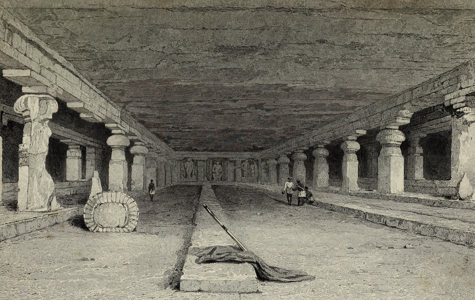 Views in India, China, and on the Shores of the Red Sea - Interior of Dher Warra Caves of Ellora (1835)
