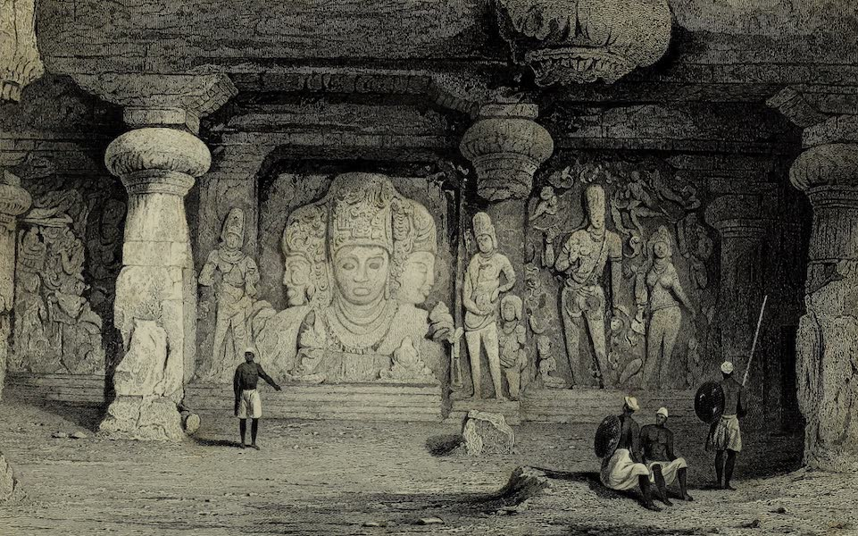 Views in India, China, and on the Shores of the Red Sea - Triad Figure, Interior of Elephanta (1835)