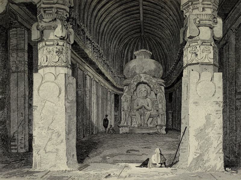 Views in India, China, and on the Shores of the Red Sea - Interior of the Bisma Kurm Caves of Ellora (1835)