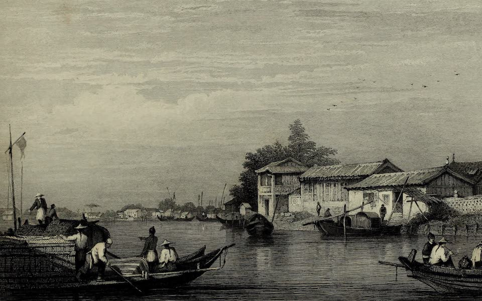 Views in India, China, and on the Shores of the Red Sea - View on a River near Canton (1835)