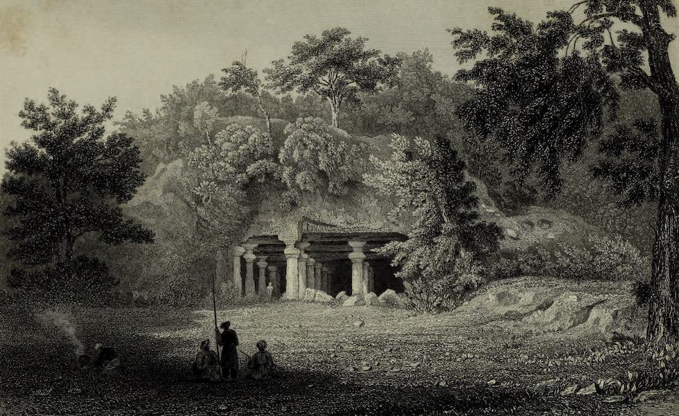Views in India, China, and on the Shores of the Red Sea - Entrance to the Cave of Elephanta (1835)