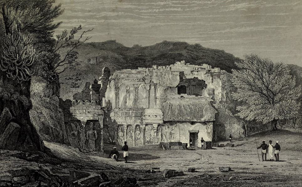 Views in India, China, and on the Shores of the Red Sea - Front View of the Kylas Caves of Ellora (1835)