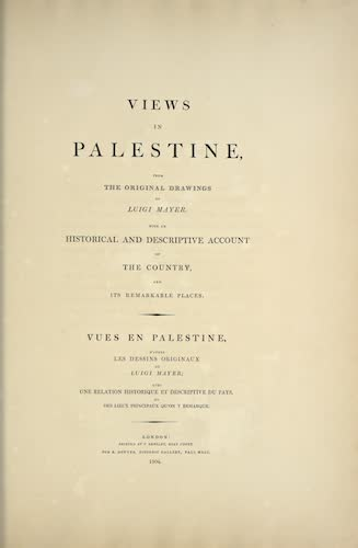 Views in Palestine - Title Page (1804)
