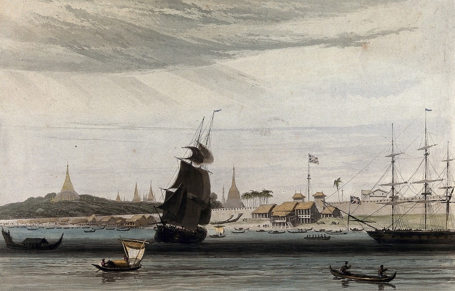 Views in the Burman Empire - Rangoon from the Anchorage (1831)