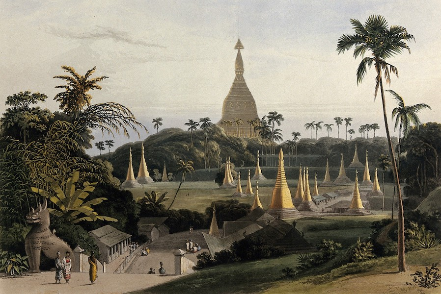 Views in the Burman Empire - Dagon Pagoda, near Rangoon, taken from the Lines of H.M. 13th & 38th Regiments (1831)