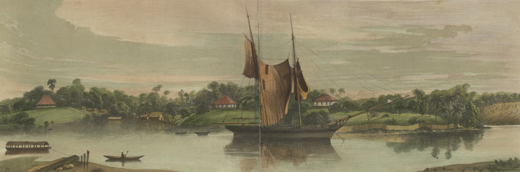 Views in the Eastern Archipelago - Kuching, Sawawak, Borneo. The settlement founded by James Brooke, Esqr. (1847)