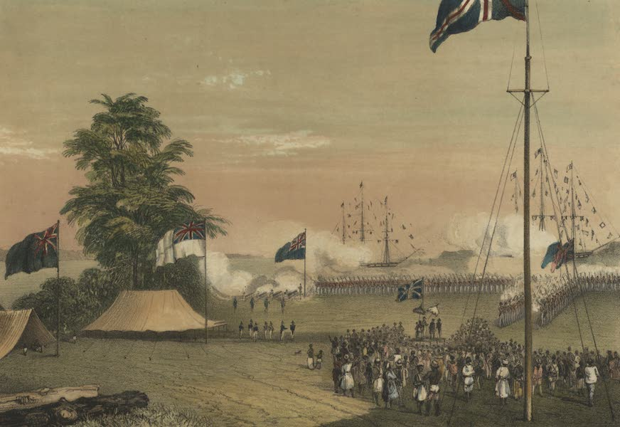 Views in the Eastern Archipelago - Ceremony of hoisting the British flag on the Island of Labuan (1847)