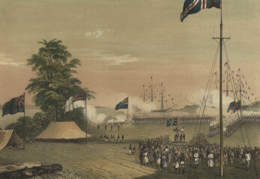 Ceremony of hoisting the British flag on the Island of Labuan