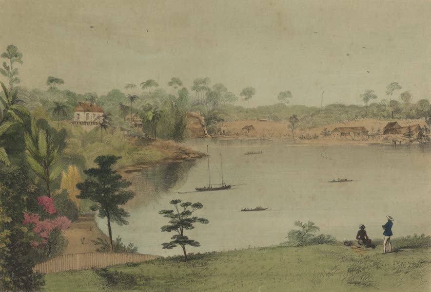 Views in the Eastern Archipelago - View from Mr. Brookes bungalow, looking down on the river Sarawak (1847)