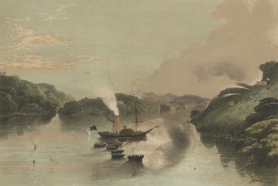Views in the Eastern Archipelago - The Steamer Phlegethon and the boats of Rear Admiral Sir Thomnas Cochrane's Squadron, repelling an attack from the forts at Borneo Proper (1847)