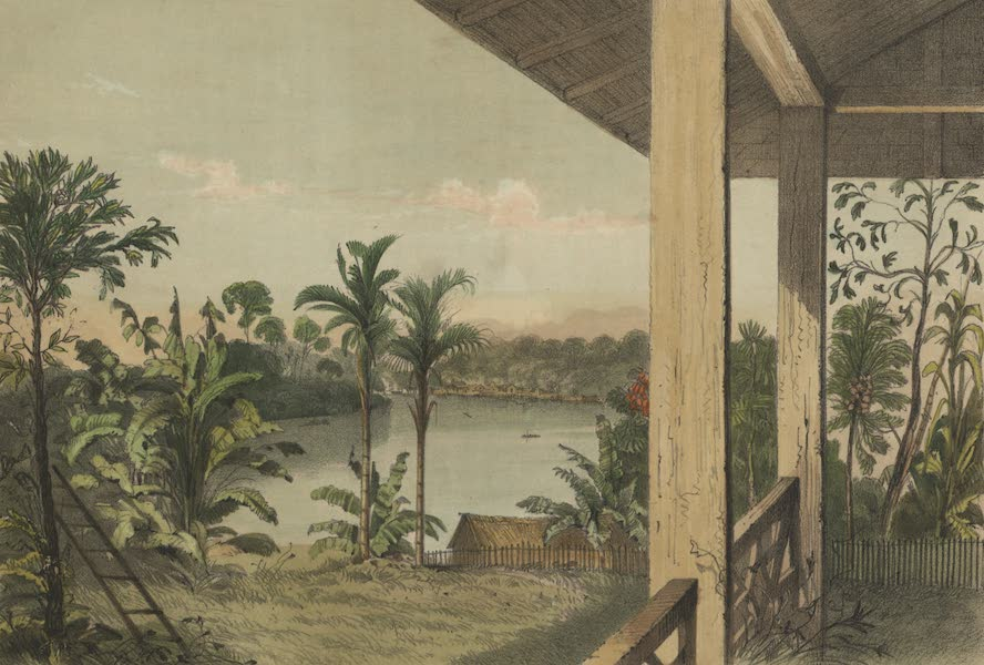 Views in the Eastern Archipelago - View from Mr. Brookes Bungalow looking up the River Sarawak (1847)