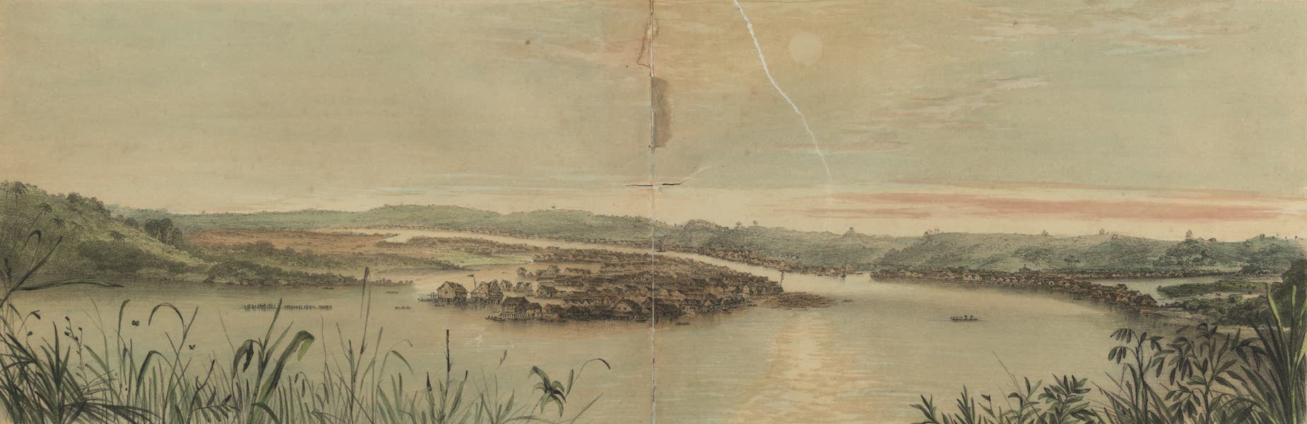 Views in the Eastern Archipelago - Bird's eye view of the City of Brune, from the Talan Subuk (1847)