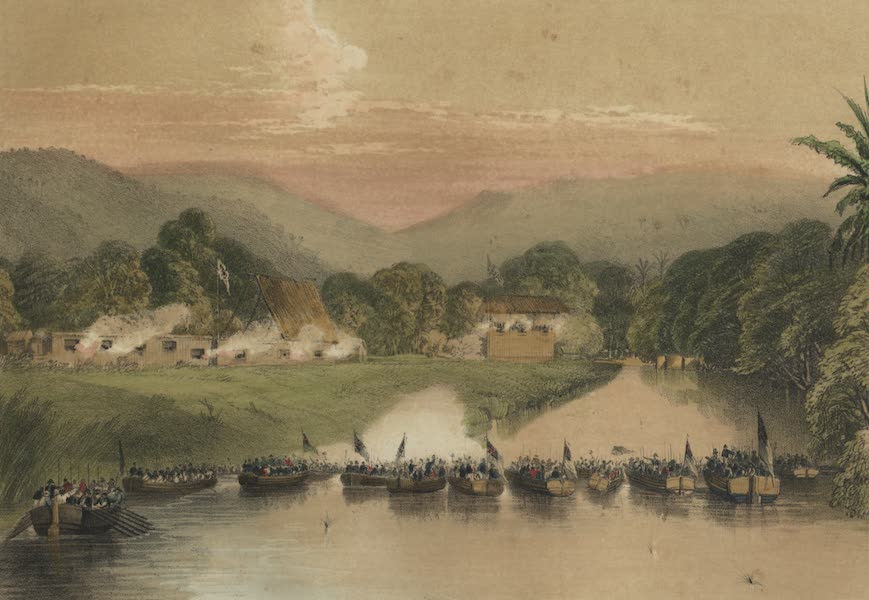 Views in the Eastern Archipelago - Cutting the Boom at Malludu (1847)