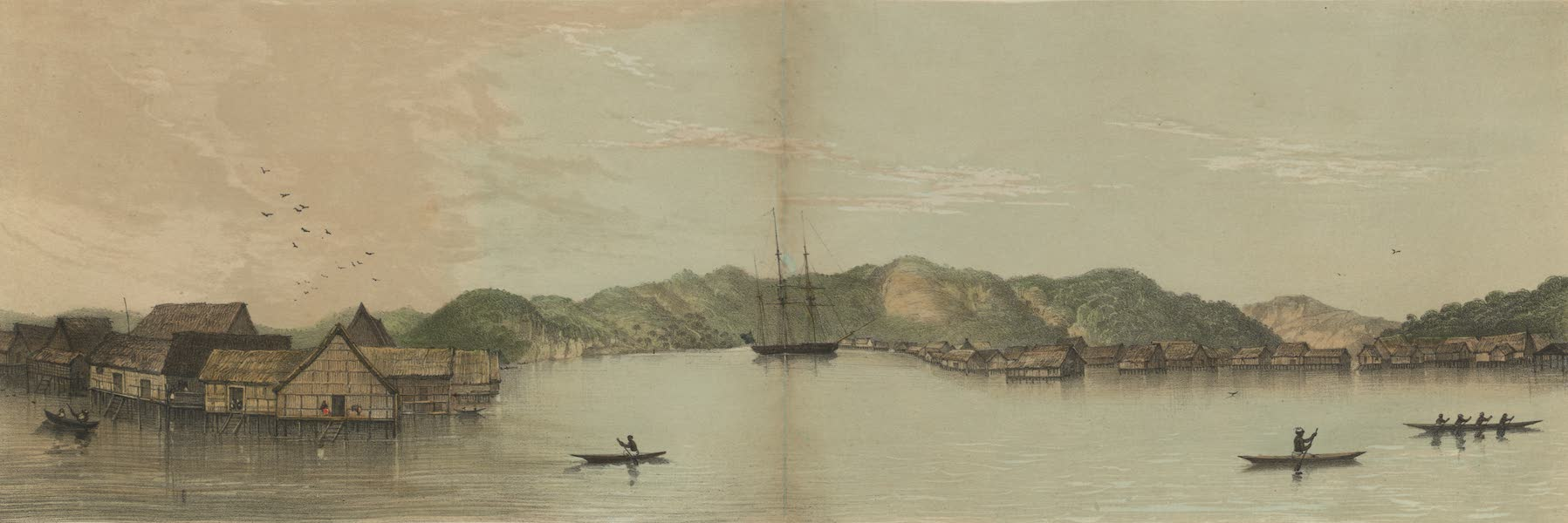 Views in the Eastern Archipelago - View looking down the river. Borneo Proper (1847)