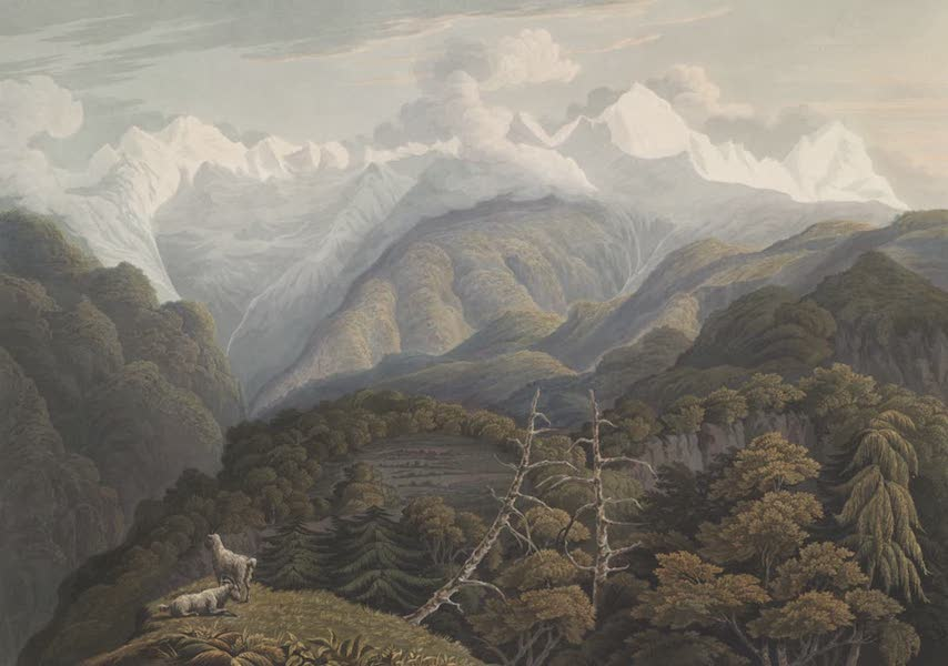 Views in the Himala Mountains - The Valley of the Jumna with Two Grand Peaks of Bunderpooch (1820)
