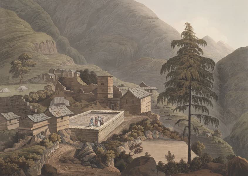 Views in the Himala Mountains - Village & Castle of Bumpta (1820)