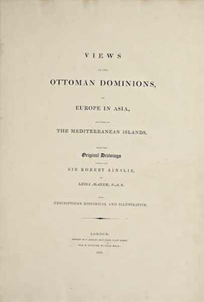 Views in the Ottoman Dominions - Title Page (1810)
