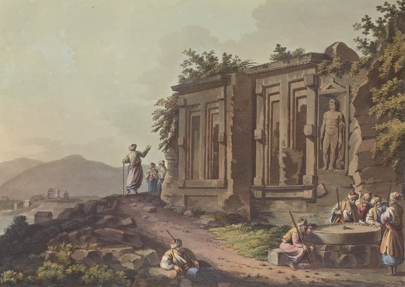 Views in the Ottoman Empire - Sepulchral Grots at the Head of the Harbour of Cacamo (1803)