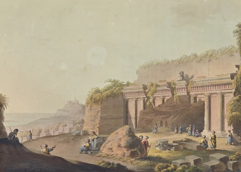 Views in the Ottoman Empire - A Grotto cut in the Rock near Lindo, in Rhodes (1803)
