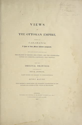 Views in the Ottoman Empire - Title Page (1803)