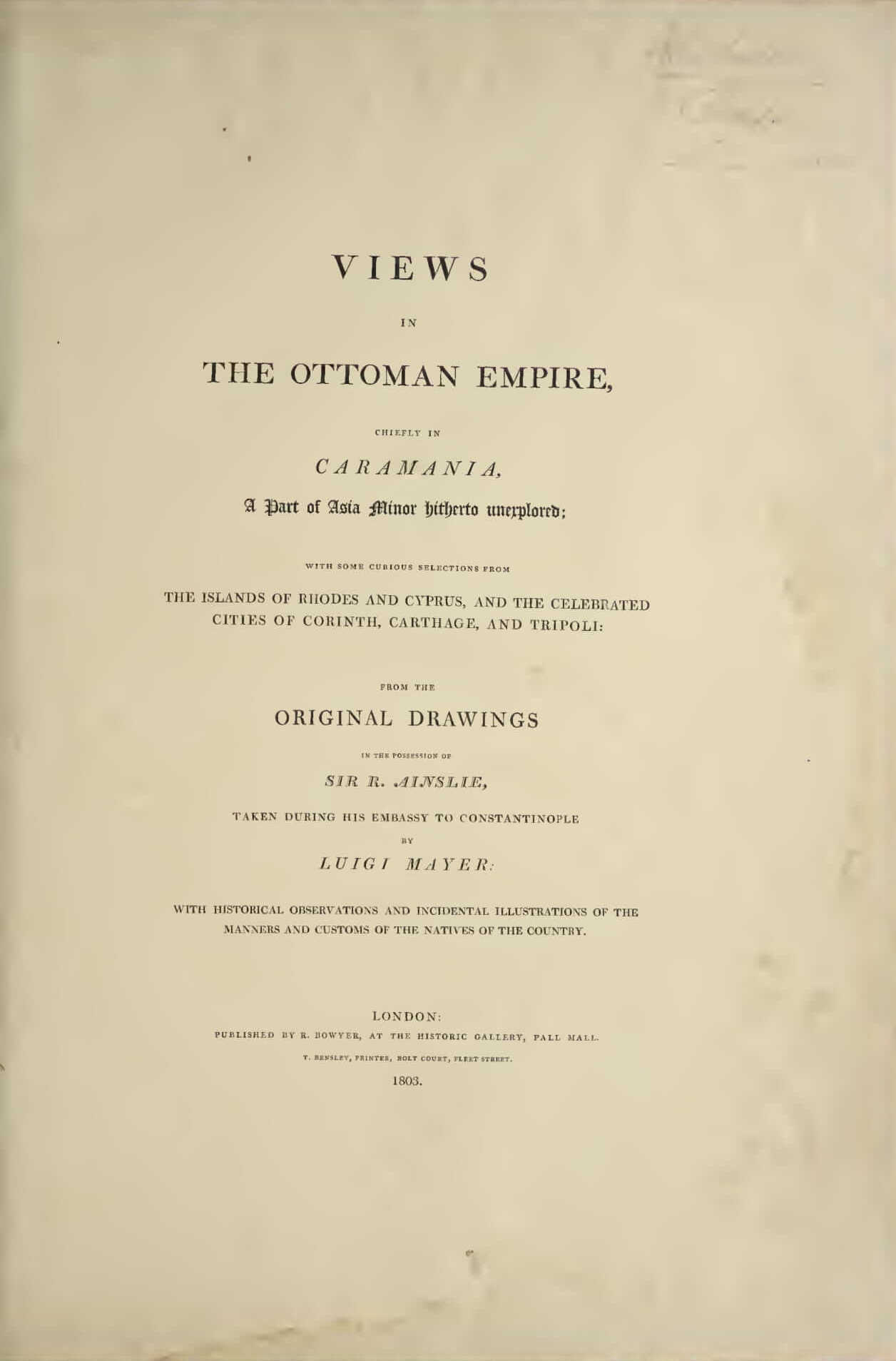 Views in the Ottoman Empire (1803)