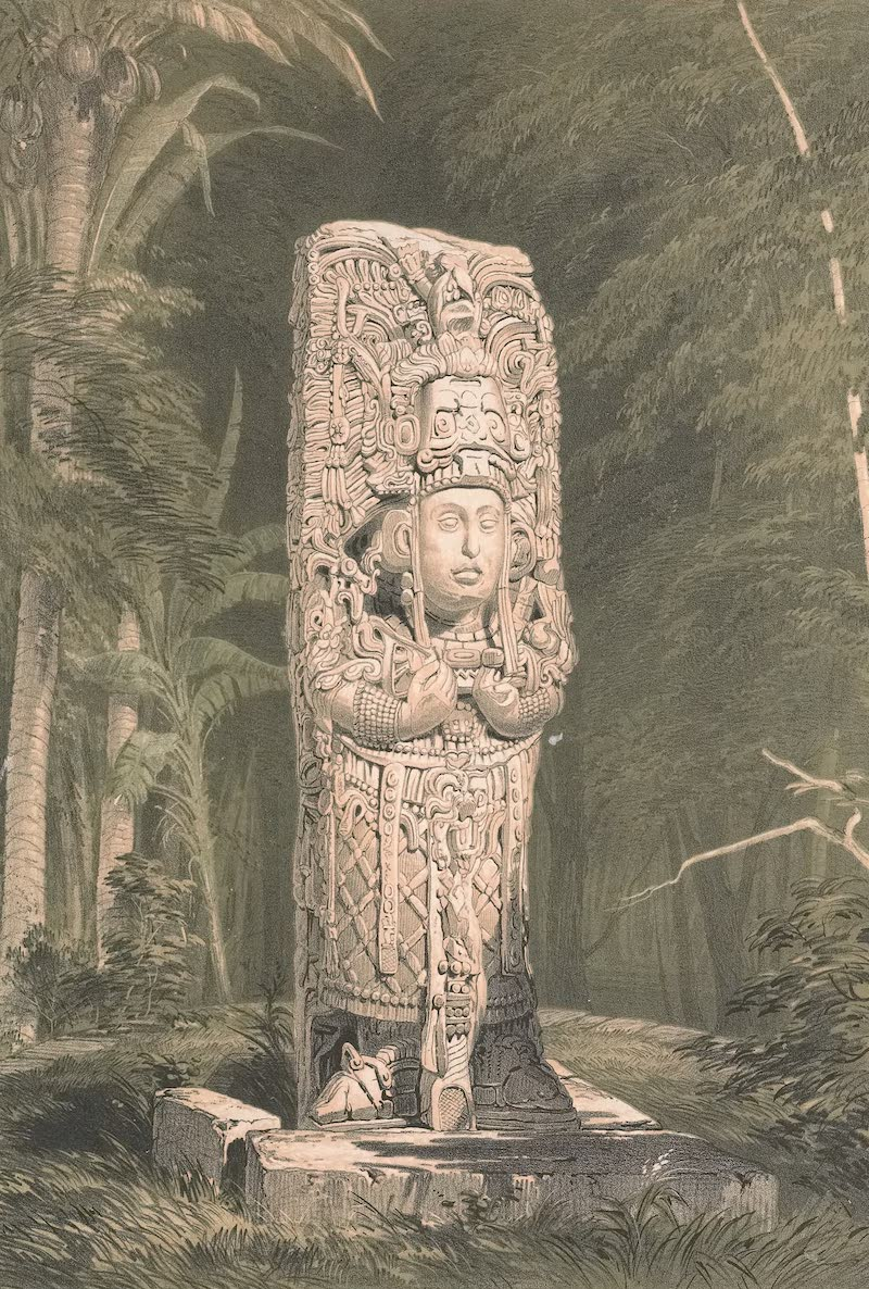 Views of Ancient Monuments in Central America - Idol at Copan (1844)