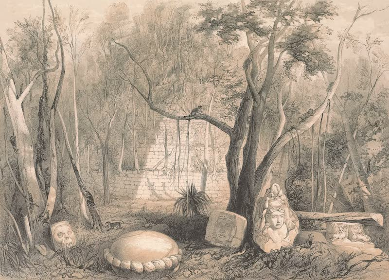 Views of Ancient Monuments in Central America - Pyramidal Building and Fragments of Sculpture at Copan (1844)