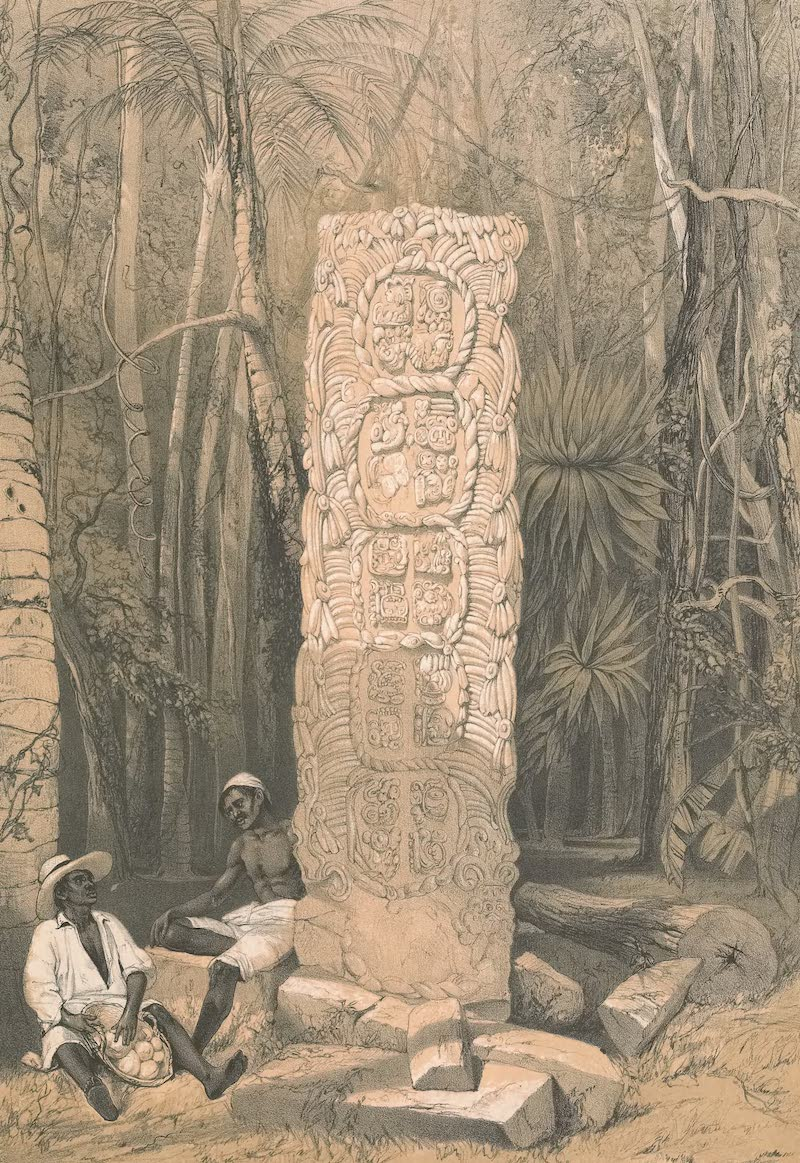 Views of Ancient Monuments in Central America - Back of a Broken Idol at Copan (1844)