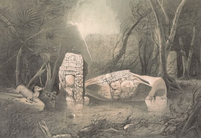Views of Ancient Monuments in Central America - Broken Idol at Copan (1844)