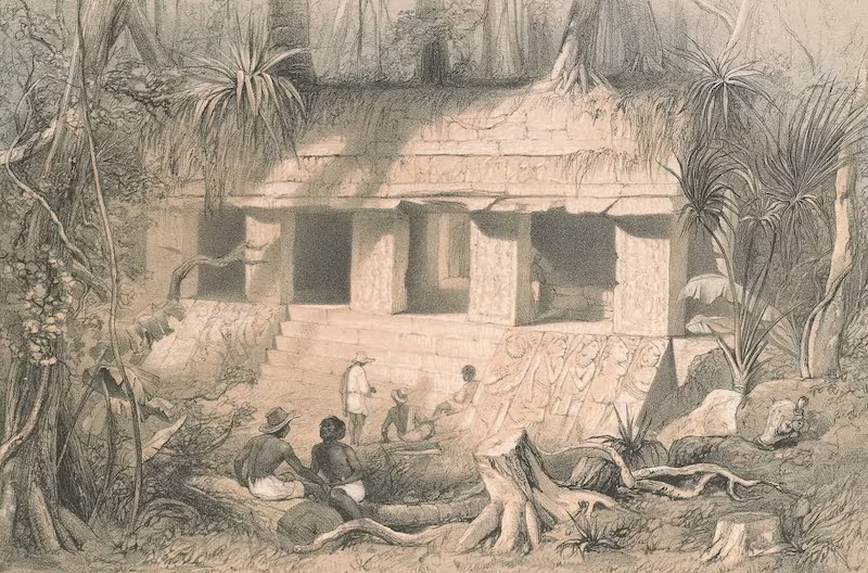 Views of Ancient Monuments in Central America - Principal Court of the Palace at Palenque (1844)