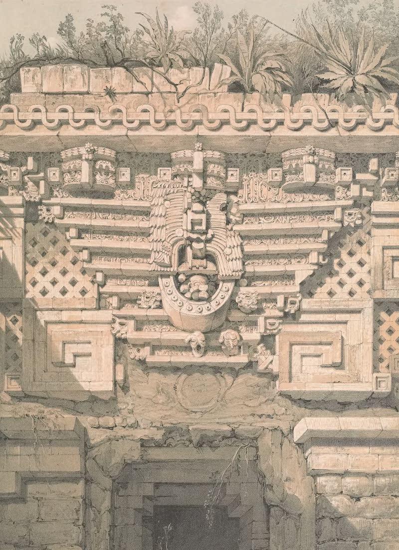 Views of Ancient Monuments in Central America - Ornament Over the Principal Doorway, Casa Del Gobernador, Uxmal (1844)