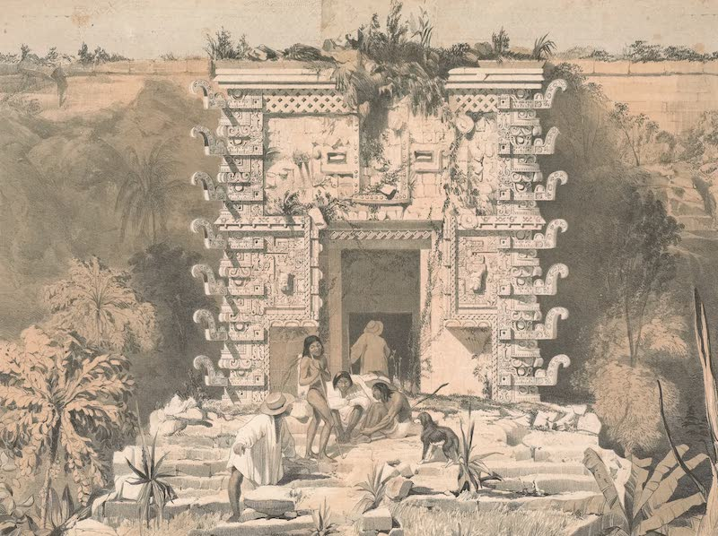 Views of Ancient Monuments in Central America - Gateway of the Great Teocallis, Uxmal (1844)
