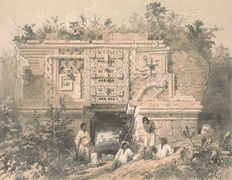 Views of Ancient Monuments in Central America - Portion of a Building, Las Monjas, Uxmal (1844)