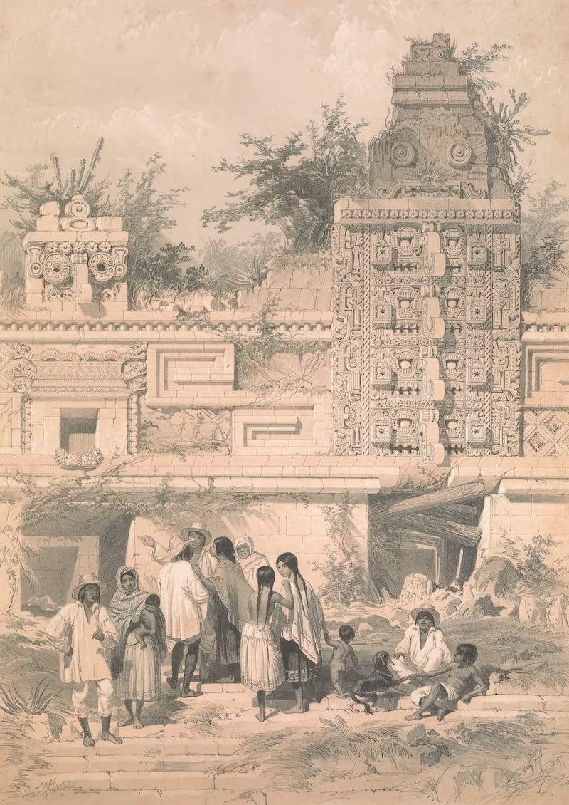 Views of Ancient Monuments in Central America - Portion of La Casa de las Monjas, Uxmal (1844)