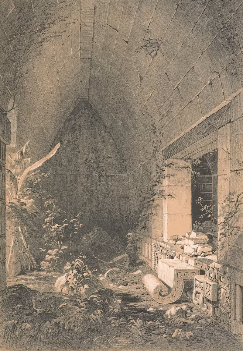Views of Ancient Monuments in Central America - Interior of the Principal Building at Kabah (1844)